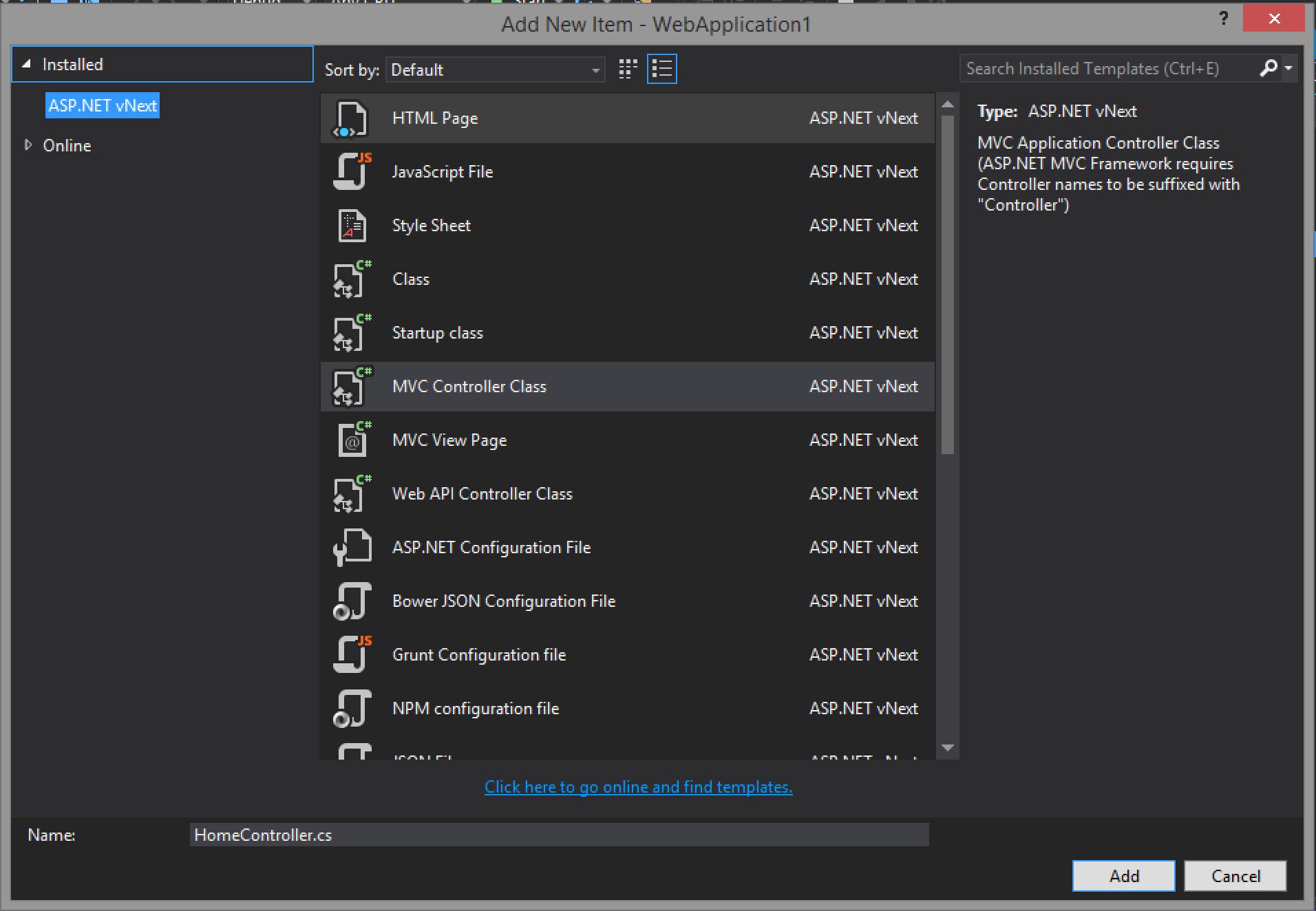 Visual Studio Add New Item