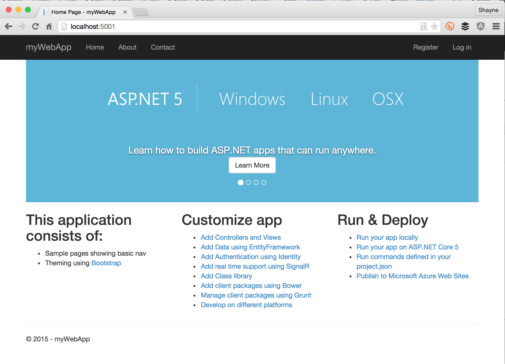yeoman aspnet nancy web application